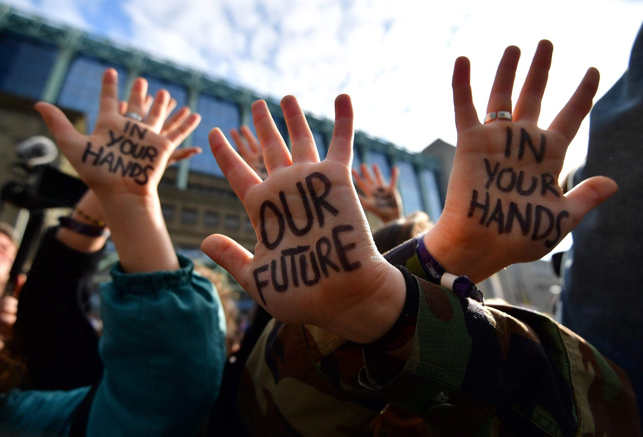 2019-02-21: Students take part in a march for the environment and the climate organized by students, in Brussels, on Feb. 21, 2019.