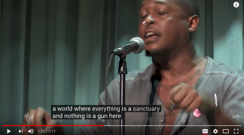 image from video of Danez Smith's performance of Alternate Heaven for Black Boys